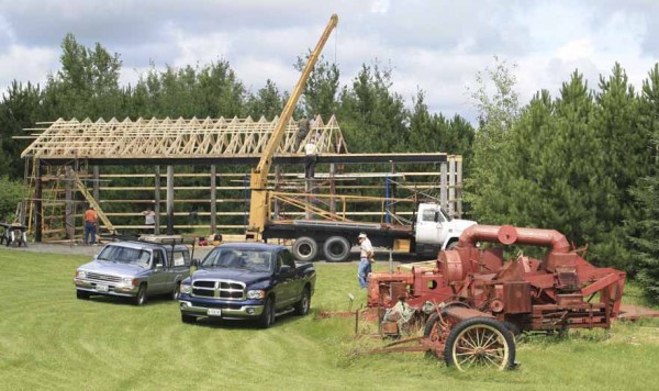 Volunteers worked all day on July 27 on the heavy construction portion of the new Limestone-Caswell Historical Society Barn, which will house the organization's antique farm equipment.