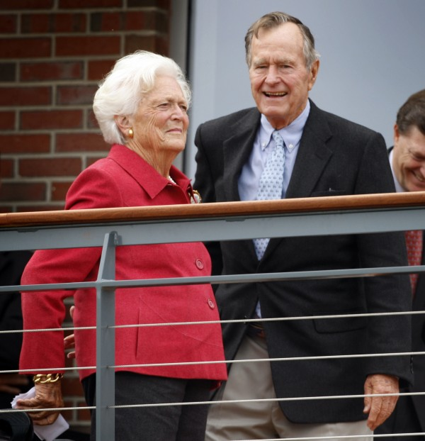 Former President George H.W. Bush and his wife Barbara Former attend a dedication in October 2008 for the George and Barbara Bush Center at the University of New England in Biddeford. The Bushes are planning to ride out Hurricane Irene at their summer home in Kennebunkport.