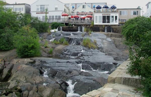 Downtown Camden lies downstream of two high-hazard dams on the Megunticook River.