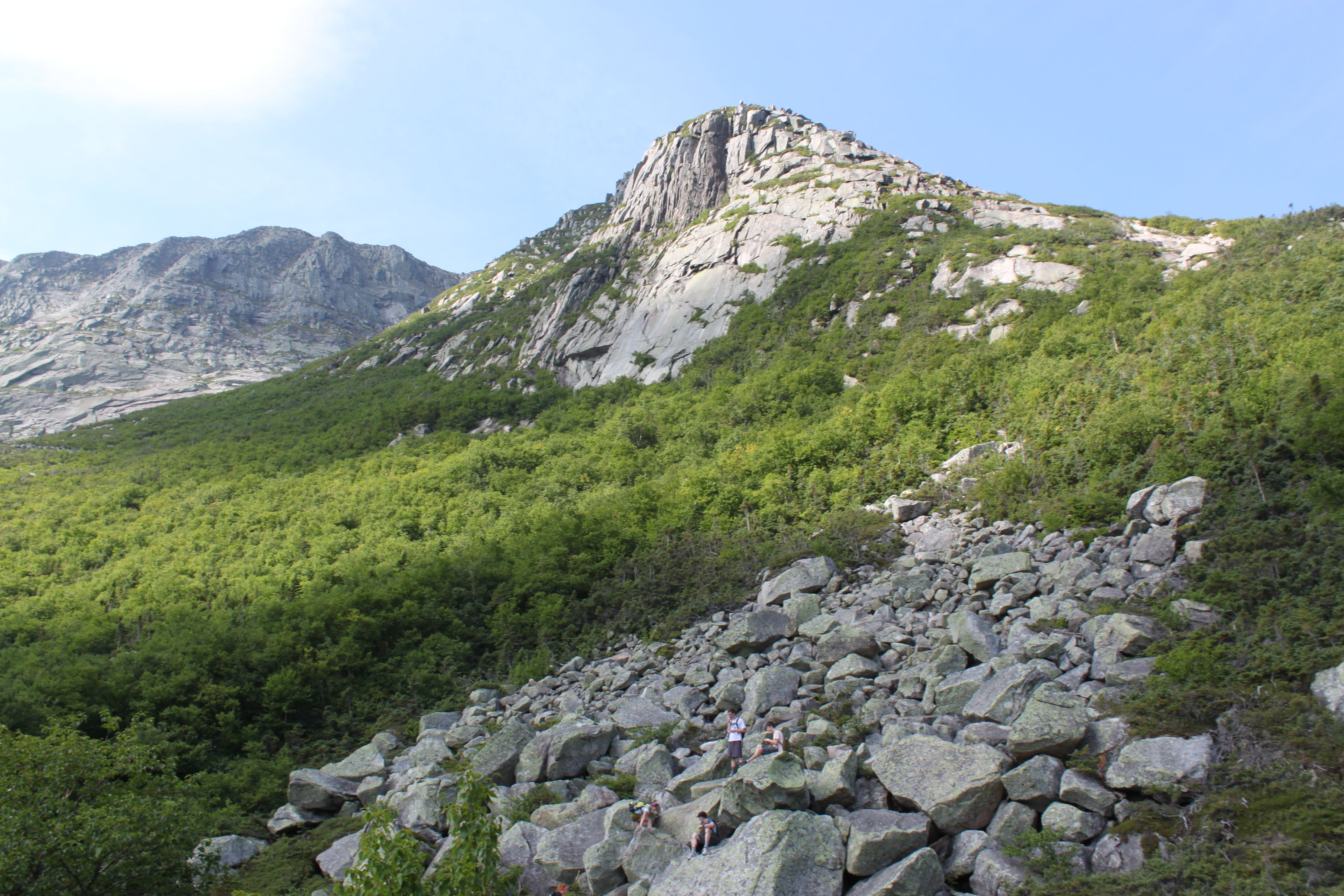Hikers approach First Cathedral on the Cathedral Trail on Mount Katahdin Sunday, Aug. 14, 2011.