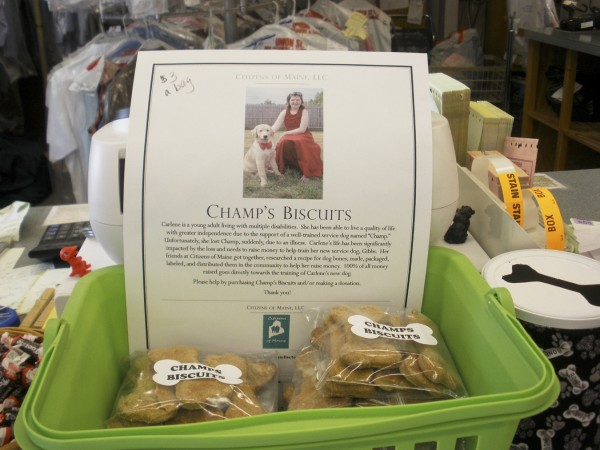 Champ's Biscuits on sale at Harlow Street Laundry and Dry Cleaners Intown Plaza.