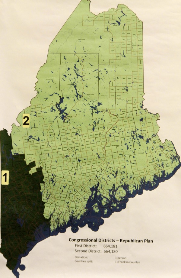A map showing redistricting preferred by Republicans in the state was unveiled at a meeting where Democrats and Republicans  offered plans to redraw Maine's congressional district lines, at the State House in Augusta, Maine, on Monday, Aug. 15, 2011. The commission met with the responsibility for redrawing the boundaries of Maine's two congressional districts.
