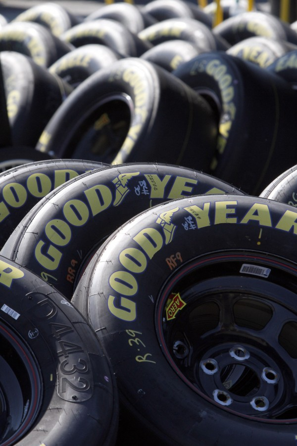 In this July 16, 2011 photo, stacks of Goodyear tires are lined up at the New Hampshire Motor Speedway, in Loudon, N.H