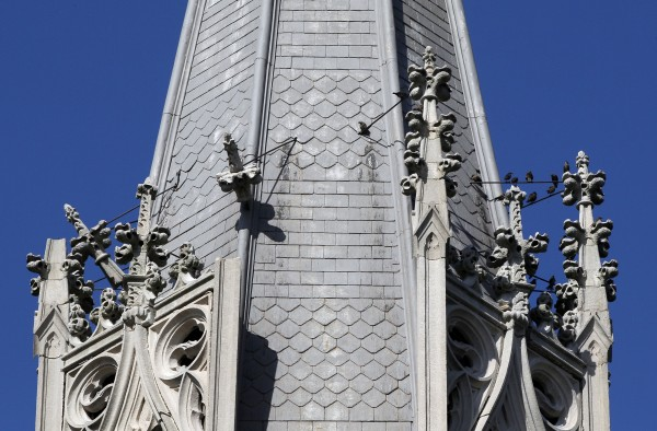 Damage is seen to decorative pieces on a steeple (at left) at Saint Patrick's Catholic Church after an earthquake was felt in Baltimore, Tuesday, Aug. 23, 2011. One of the strongest earthquakes ever recorded on the East Coast shook buildings and rattled nerves from South Carolina to New England on Tuesday and forced the evacuations of parts of the Capitol, White House and Pentagon.