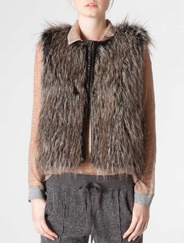 The Burning Torch Desert Fox reversible faux fur vest is $386.