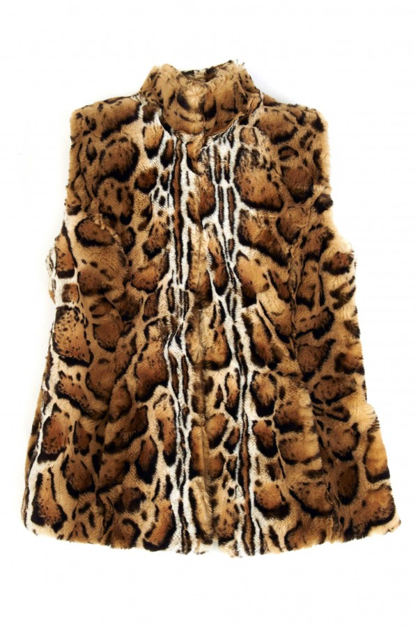 The Naeem Khan ocelot printed faux fur vest is timeless.