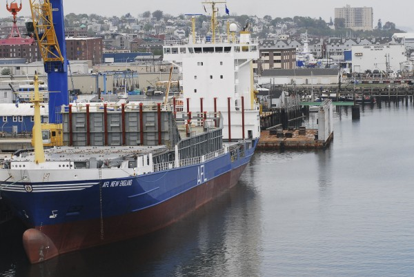 The American Feeder Lines' New England container ship is seen at the International Marine Terminal in Portland in August.
