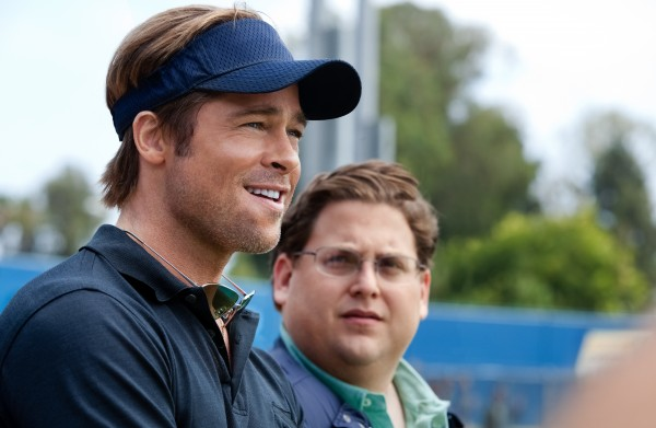 "In this image released by Sony Pictures, Brad Pitt, left, and Jonah Hill are shown in a scene from ""Moneyball."""