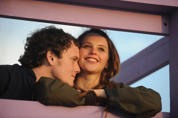 "In this image released by Paramount Pictures, Anton Yelchin, left, and Felicity Jones are shown in a scene for ""Like Crazy."""