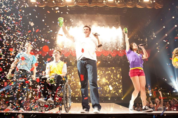 In this image released by 20th Century Fox, from left, Chord Overstreet, Kevin McHale , Cory Monteith  and Lea Michele are shown in a scene from Glee: The 3D Concert Movie.&quot