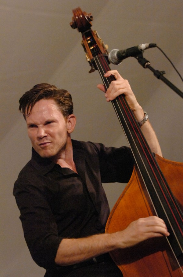 Bassist Jake Erwin and his bandmates of Hot Club of Cowtown from Austin,Texas got dancers swinging at the Dance Pavilion of the American Folk Festival on Bangor's waterfront Friday evening, Aug. 26, 2011.