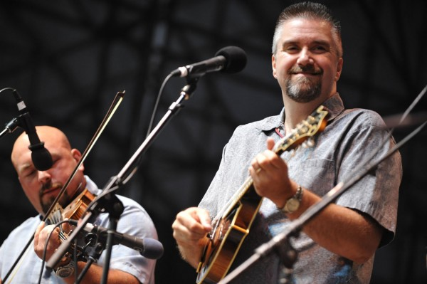 Mandolin player Greg Jones, right, and fiddle player Tim Martin of the bluegrass band Rich in Tradition perform on the Railroad Stage at the American Folk Festival on Bangor's waterfront Friday, Aug. 26, 2011.