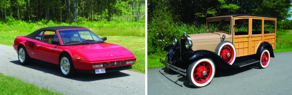 Everything from Fords to Ferraris — such this 1987 Ferrari Mondial (left) and 1930 Ford A Woodie Wagon—will up for sale at the 34th annual New England Auto Auction, August 20 at the Owls Head Transportation Museum.