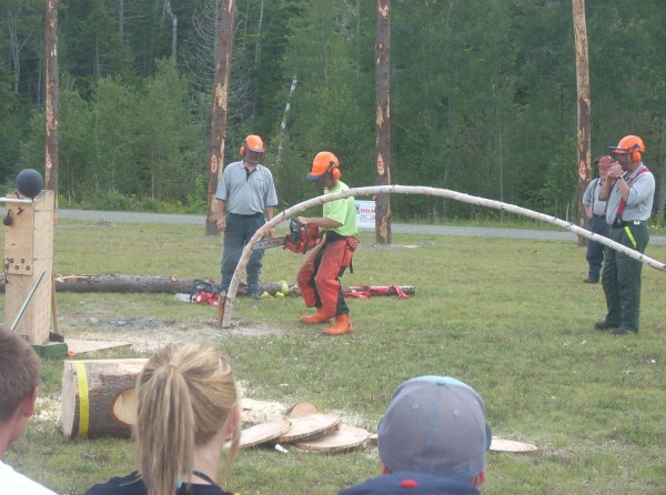 "Maine Forest Ranger Samuel Heffner competed in the ""Game of Logging"" during the Forest Heritage Days event in Greenville on Aug. 13. Ranger Heffner was awarded fist place and is now qualified for the National Game of Logging Competition in October."