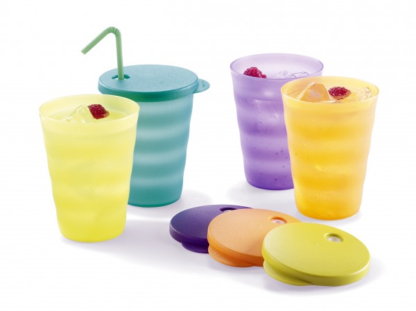 This product image courtesy of Tupperware shows Tupperware Impressions Tumblers.
