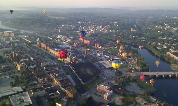 An aerial view of the balloons launching at the Great Falls Balloon Festival in Lewiston on Friday morning.