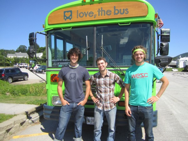 The Maine boys and their bus: Tyler Dunham (left to right), Seth Brown and Corey McClean