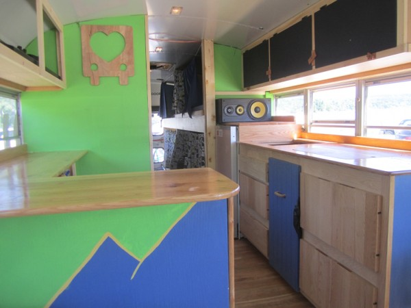 "Interior of the renovated bus, ""Chartreuse."""