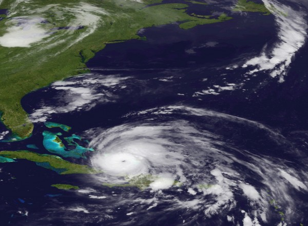 An image released by the NOAA made from the GEOS East satellite shows Hurricane Irene on Aug. 24, 2011 as it moves northwest from the Dominican Republic. Federal officials have warned Irene could cause flooding, power outages or worse all along the East Coast as far north as Maine, even if it stays offshore.