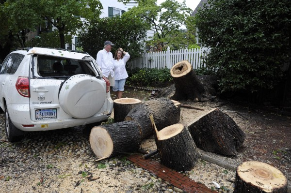 Lorne and Anne Cramer look at the remains of a maple tree which fell over early Sunday, Aug. 28, 2011, in front of their home, damaging a neighbor's vehicle on Princess Street in Old Town Alexandria, Va.