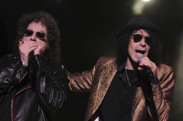 J Geils lead singer Peter Wolf, right and Magic Dick, left, perform &quotSouthside Shuffle&quot during the opening of their show on the Bangor Waterfront on Thursday, Aug. 4, 2011.
