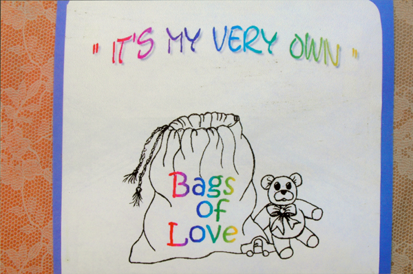 "Photo of ""It's My Very Own,"" part of the ""Bags of Love"" program for children ages birth to 17 who are removed from their homes for their own protection by social service agencies."