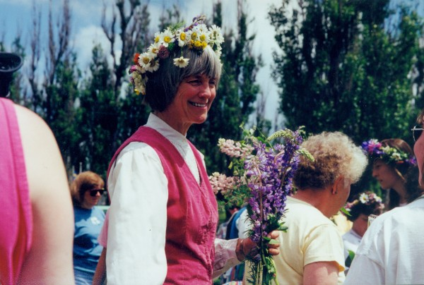 Kathryn Olmstead masquerading as a Swede during the 1998 Midsommar festival in New Sweden.