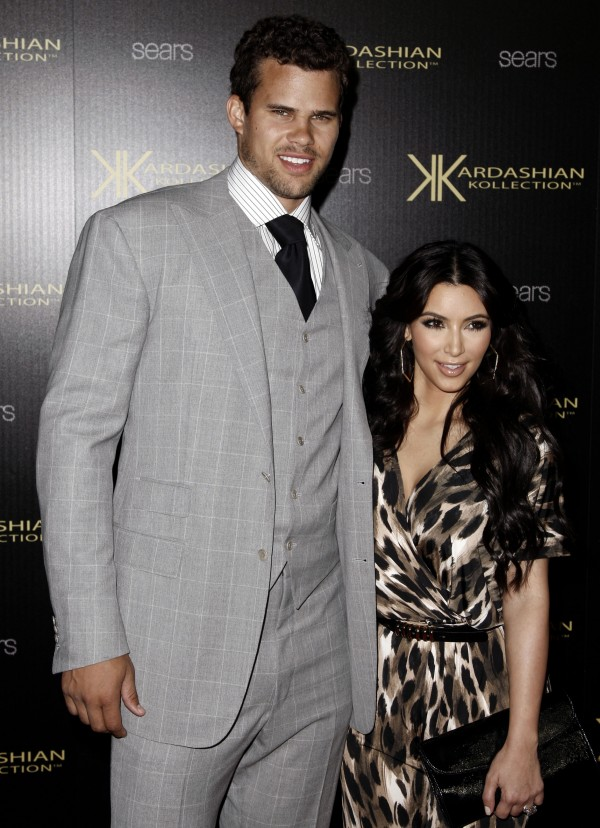 Kim Kardashian, right, and her fiance, NBA basketball player Kris Humphries, arrive at the Kardashian Kollection launch party in Los Angeles, Wednesday, Aug. 17, 2011.