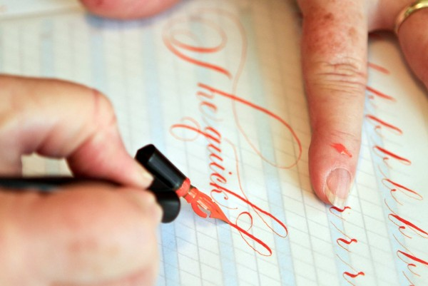 DeAnn Singh is the foremost calligrapher in Southern California. She's received a number of movie commissions, just received some new work from Barbra Streisand, and with some 30 years experience, she has taught beautiful writing - which is what calligraphy means - to students in the area.
