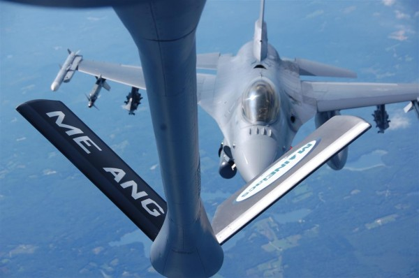 A KC-135 conducts a refueling mission to several F-16s based in Vermont with Maine Gov. Paul LePage on board.