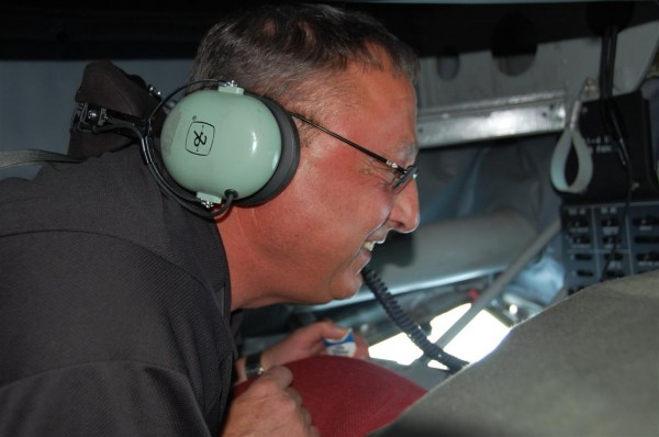 Maine Gov. Paul LePage aboard a refueling plane early Tuesday.