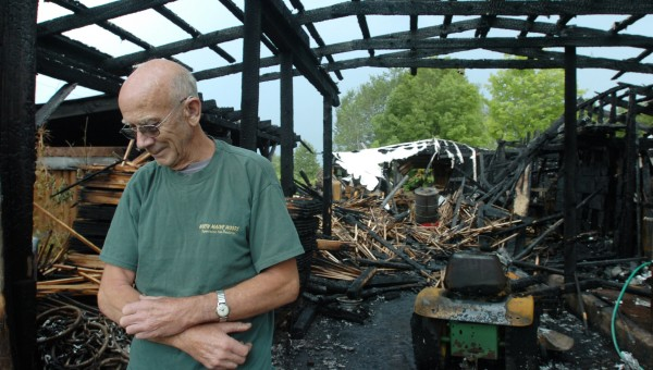 &quotThere was one humongous clap of thunder. I looked out and flames were shooting up through,&quot said Everett Amazeen of Garland on Tuesday as he recounted the lightning strike and resulting fire that destroyed the sawmill behind his home on Campbell Road on Monday evening. He said he used a garden hose to try to keep the fire from spreading to another section of the mill before the fire department arrived. He purchased the sawmill equipment second-hand and had operated in the cow barn for 15 years, making stakes and laths. &quotI've put thousands of cords of wood through those saws,&quot Amazeen said. &quotIt's heartbreaking to see it go to hell.&quot