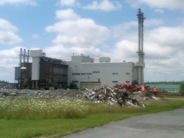 Some of the demolition work that has been done leading up to the implosion of the central heat plant at the former Loring Air Force Base in Limestone is seen recently. The rubble in the foreground is the former cold storage building.