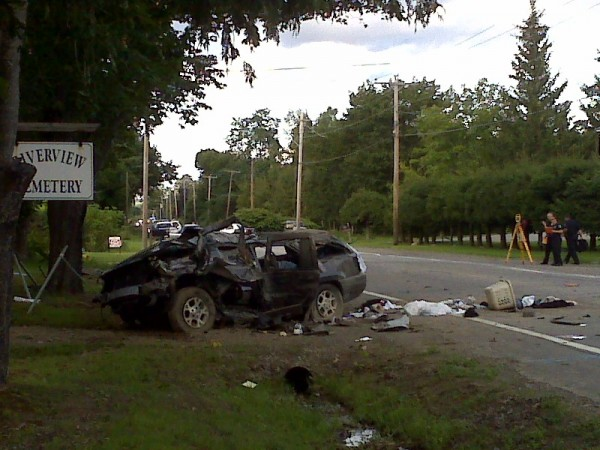 Members of the Bangor Police Department's accident reconstruction team, working with Chris Watson of the Orono Police Department, were at the scene of a fatal accident Monday, Aug. 22, 2011.