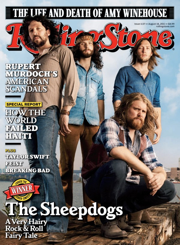 In this magazine cover image released by Rolling Stone, the lover of &quotRolling Stone&quot magazine, featuring The Sheepdogs are shown.  The Canadian rock band beat out 15 other competitors to land on the cover in a contest judged by readers, which will hit newsstands on Friday.