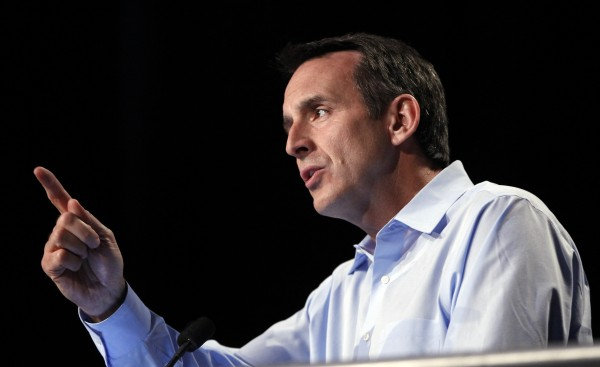 Republican and former Minnesota Governor Tim Pawlenty speaks at the Republican Party's Straw Poll in Ames, Iowa, Saturday, Aug. 13, 2011.