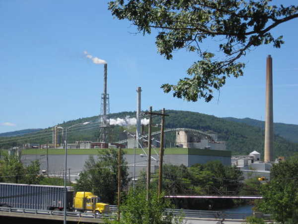 Rumford's NewPage paper mill as seen from Granite Street in Mexico.