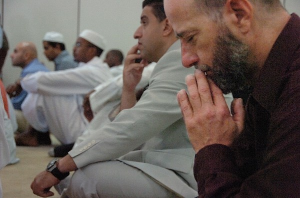 AbduSubur, right, of Mount Desert Island joins Dr. Tarek Elkadi, second from right and other faithful in prayer as they mark the end of the holy month of Ramadan at the Islamic Center of Maine in Orono Tuesday, Aug. 30, 2011. The ninth month of the Islamic calendar, Ramadan is a period of prayer, fasting, charity and self-awareness for Muslims. At the end of Ramadan, the early verses of the the Quran were revealed to the Prophet Mohammed. The Eid ul Fitr (&quotfestivity of  the breaking of the fast&quot) took place Tuesday to mark the end of Ramadan.  Prayer services at the center were followed by a brunch and children's activities Tuesday afternoon.