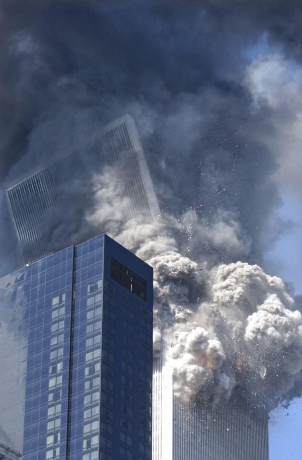 The south tower of the World Trade Center begins to collapse after a terrorist attack on the New York landmark on Sept. 11, 2001.