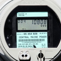 A new Central Maine Power smart meter displays electricity usage at a business in Freeport in fall 2010.