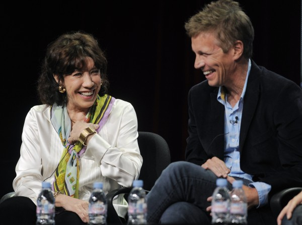"Lily Tomlin, left, a cast member in the Showtime television series ""Web Therapy,"" and creator/executive producer/director Don Roos share a laugh during a panel discussion on the show at the CW Showtime summer press tour in Beverly Hills, Calif., Thursday, Aug. 4, 2011."