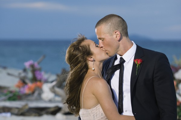 "In this photo provided by ABC, ""Bachelorette"" Ashley Hebert kisses J.P. Rosenbaum on the season finale of ""The Bachelorette"" in Fiji. Hebert chose the 34-year-old construction manager over winemaker Ben Flajnik from California in Monday's two-hour finale."