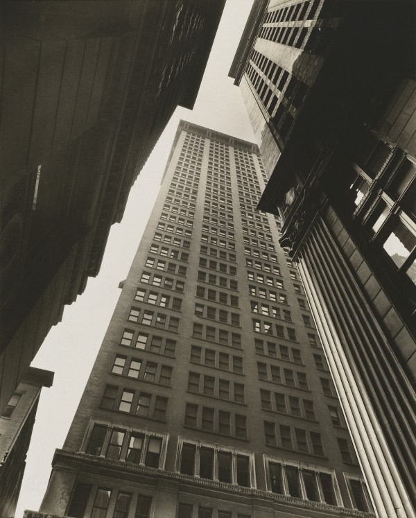 "This image courtesy of Colby College shows Berenice Abbott's ""Canyon: Broadway and Exchange Place,"" 1936, gelatin silver print, National Gallery of Art, gift of Marvin Breckinridge Patterson."