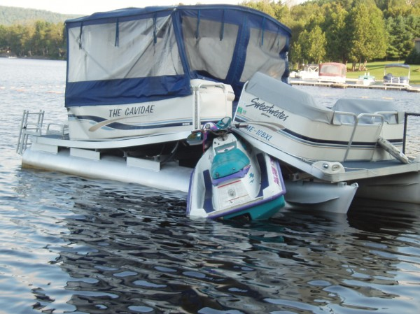 Travis Toussaint, 22, of Eagle Lake faces charges after crashing his 1995 Polaris personal watercraft into a docked 20-foot pontoon boat owned by Gary Thibodeau of St. Francis at about 12:30 a.m. Saturday.