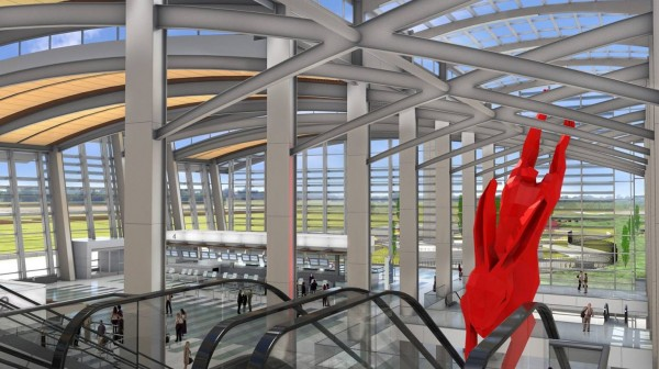 """Sacramento International Airport's new terminal B, due to open in October, has 13 art projects at a cost of $5 million, including what is emerging as the signature piece, an attention-getting giant red rabbit — 56 ft. long and 19 ft. tall — in an atrium by baggage claim. The rabbit has its own suitcase embedded with a """"swirling vortex"""" that it appears to be diving into. The price tag of the red rabbit: $750,000."""