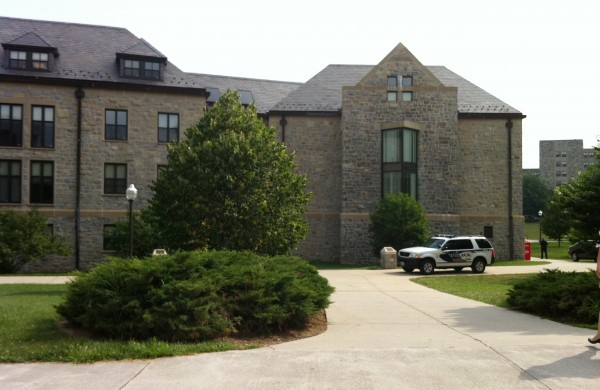 "Peddrew-Yates Residence Hall, near Dietrick Dining Center, is locked down on Thursday, August 4, 2011, on the Virginia Tech Campus in Blacksburg, Va., after three youths attending a summer camp on Virginia Tech's campus said they saw a man outside New Residence Hall East ""holding what may have been a handgun,"" the university said."