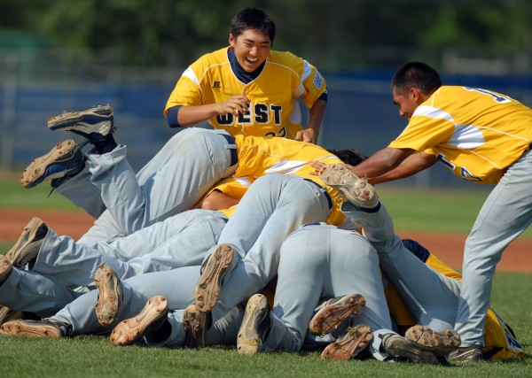 The U.S. West team from Hilo, Hawaii celebrates after winning the 2011 Senior Little League World Series championship game against Tyler, Texas on Saturday Aug. 20, 2011.  Hilo won the game 11-1 in five innings.