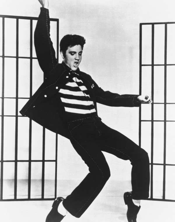 This is a photo from the 1957 film &quotJailhouse Rock&quot in which Elvis Presley plays a convict who becomes a rock star.