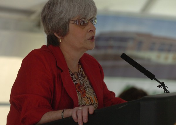 Bangor Council Chairwoman Susan Hawes addresses the audience gathered for the groundbreaking ceremony of the new arena in Bangor on Thursday, August 4, 2011. The expected completion date for the long-awaited arena is 2013.