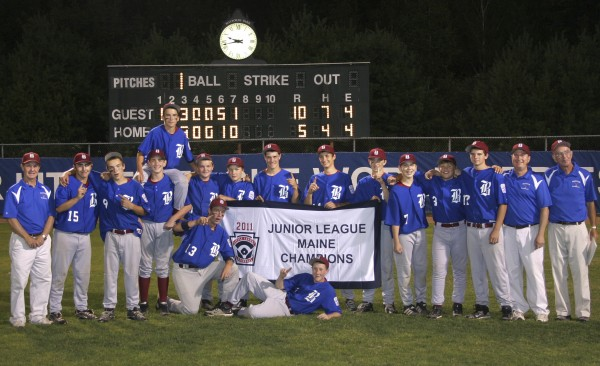 The Bangor Junior League All Stars won the Maine State baseball championship defeating South Portland 10-5 on July 31. The 13- and 14-year-old Bangor All Stars will advance to play the Delaware State Champions at 4 p.m. Saturday, Aug. 6, in the Eastern Regional tournament in Freehold, N.J. Team members are (front row, from left) Sam Huston and Andrew Hillier; (back row) coach Dennis Libbey, Matt Duff, Jordan Derrah, Justin Courtney, Kyle Stevenson, Ryan Brookings, Brennan Lane, Jon Stanhope, Caleb Pineo, Brian Pierce, Nick Moore, Ben Crichton, Alec Coleman, Coach Todd Hillier and Coach Jim Owens.